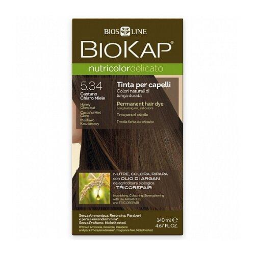BioKap Nutricolor Delicato стойкая крем-краска для волос, 5.34 медово-каштановый