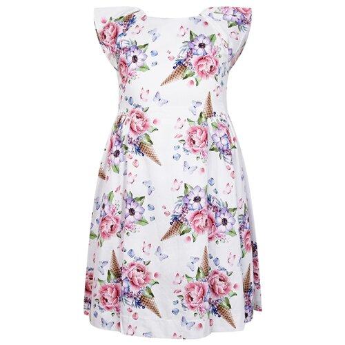 Купить Платье Mayoral размер 134, белый/цветочный принт, Платья и сарафаны