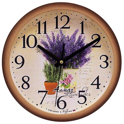 Фото - Часы настенные кварцевые Алмаз B97 коричневый/бежевый часы настенные кварцевые алмаз b97 коричневый бежевый