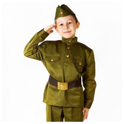 Купить Костюм Bristol Novelty Солдат Люкс (ПЯ076), зелeный, размер 122-134, Карнавальные костюмы