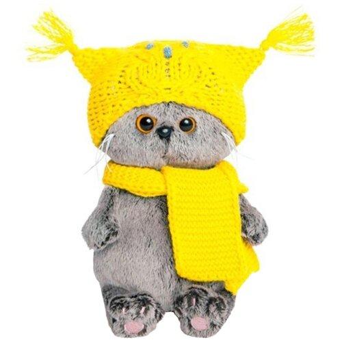 Купить Мягкая игрушка Basik&Co Кот Басик baby в шапке-сова и шарфе 20 см, Мягкие игрушки
