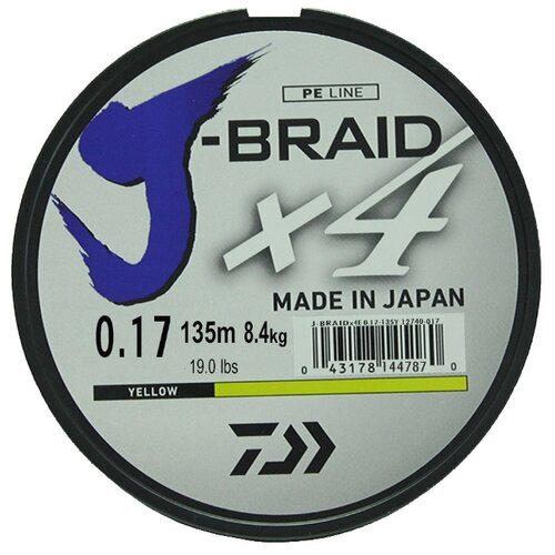 Плетеный шнур DAIWA J-Braid X4 yellow 0.17 мм 135 м 8.4 кг
