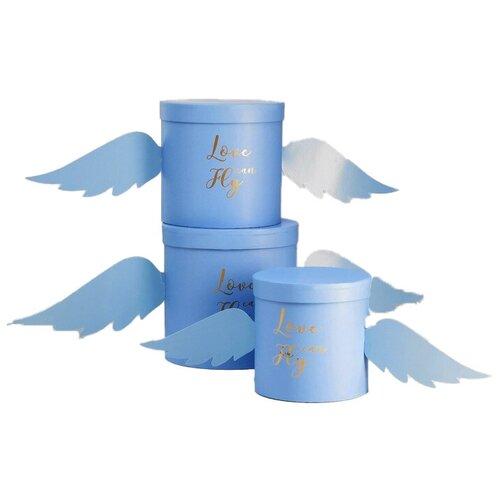 Набор подарочных коробок Shantou Jin Wei Ming Arts & Crafts Product Крылья, 3 шт. синий недорого