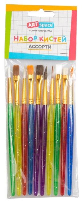 Набор кистей ArtSpace нейлон, пони, щетина, с короткой ручкой, 10 шт.