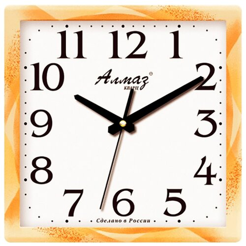 Часы настенные кварцевые Алмаз M39/M40 бежевый/белый часы настенные кварцевые алмаз c04 c10 бежевый с рисунком белый