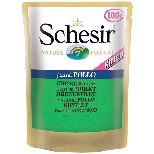 Влажный корм для котят Schesir с курицей 100 г (кусочки в желе)