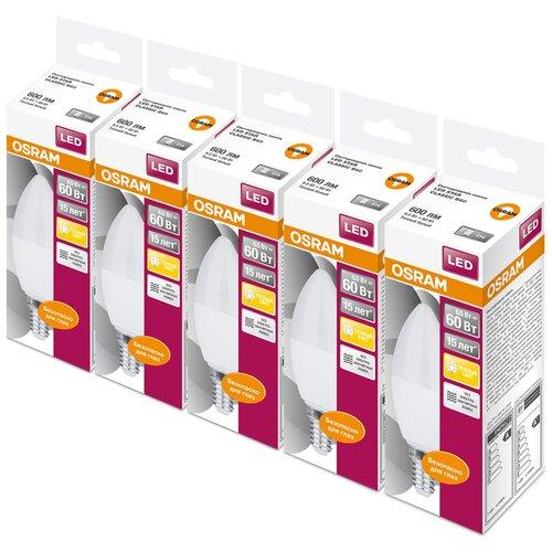 Фото - Упаковка светодиодных ламп 5 шт OSRAM Led Star Classic B 60 830, E14, C37, 6.5Вт упаковка светодиодных ламп 5 шт osram led star classic b 75 830 e27 8вт