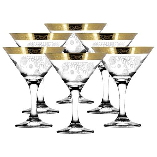 ГУСЬ-ХРУСТАЛЬНЫЙ Набор бокалов для мартини Нежность 6 шт 170 мл прозрачный/золотой гусь хрустальный набор бокалов для бренди лоза tav116 1812 6 шт прозрачный золотой