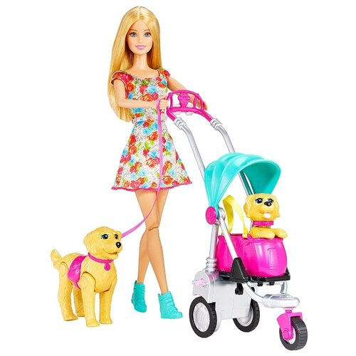 цена на Набор с куклой Barbie Прогулка со щенками, 30 см, CNB21