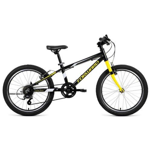 Подростковый горный (MTB) велосипед FORWARD Rise 20 2.0 (2020) черный/желтый 10.5 (требует финальной сборки) подростковый горный mtb велосипед forward dakota 24 1 0 2020 черный 13 требует финальной сборки