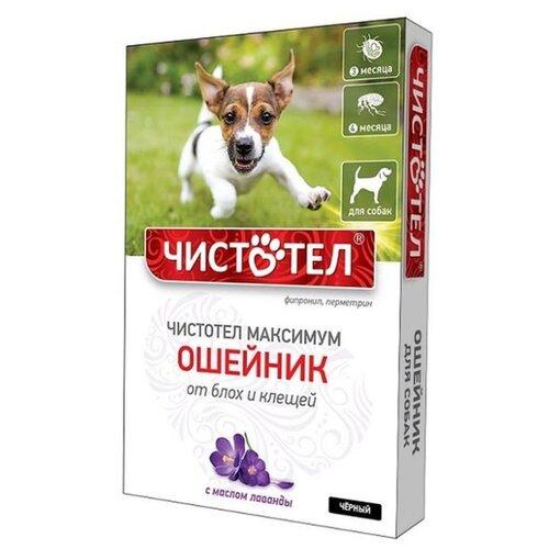 ЧИСТОТЕЛ ошейник от блох и клещей Максимум для собак и щенков, 65 см, черный чистотел биоошейник от блох репеллентный для собак