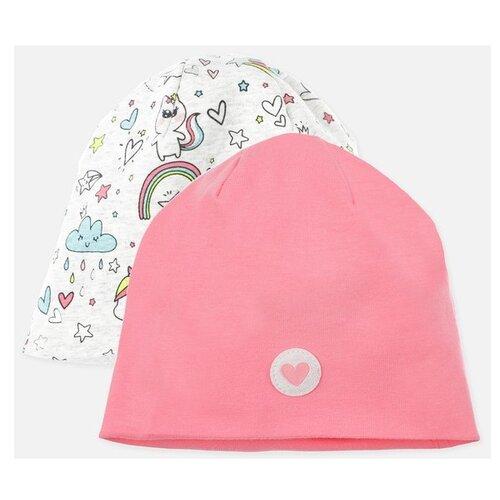 Шапка playToday размер 48, светло-розовый/светло-серый