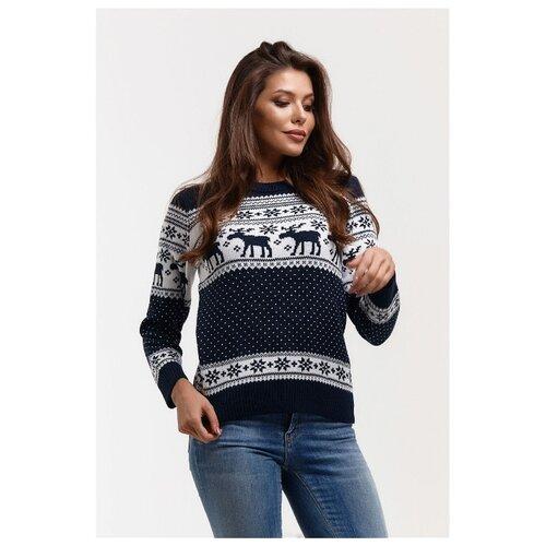 Новогодний женский свитер, классический скандинавский орнамент с Оленями и снежинками, натуральная шерсть, сине-белый цвет, размер XS