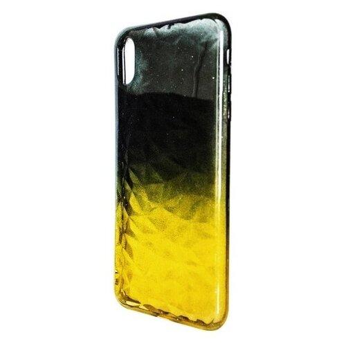 Krutoff / Накладка силиконовая Crystal Krutoff для iPhone X/XS (Айфон Икс/ИксС) желто-черная