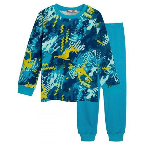 Пижама Let's Go размер 98, темно-бирюзовый/бирюзовый