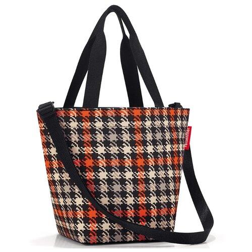 Сумка reisenthel Shopper XS ZR3068 glencheck red, текстиль, черный/оранжевый