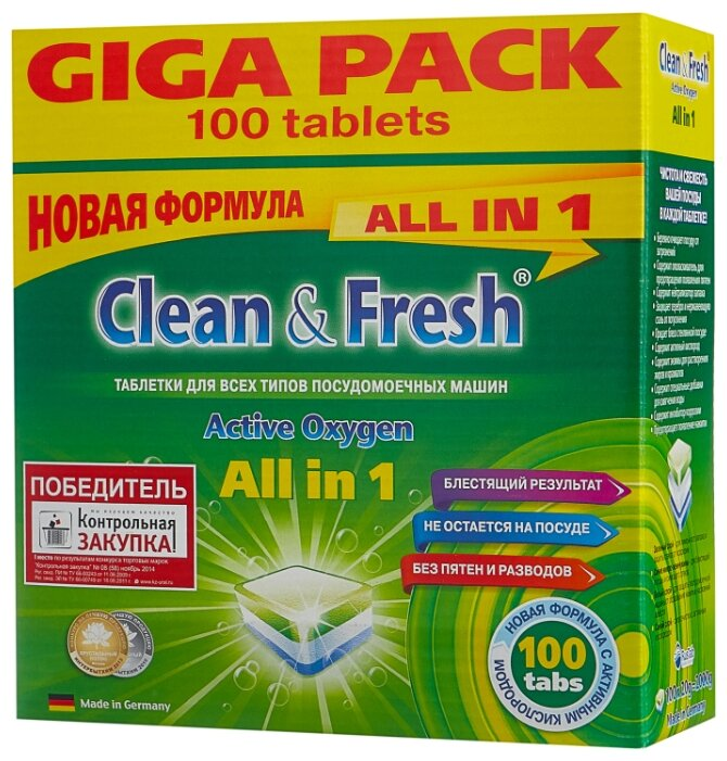Таблетки для посудомоечных машин CLEAN & FRESH Clean&Fresh All in 1 (mega) 60 шт