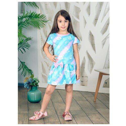 Платье Дашенька размер 98, розовый/голубой/ментол