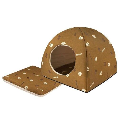 Домик для собак и кошек Дарэлл Юрта 42х42х41 см коричневый/бежевый