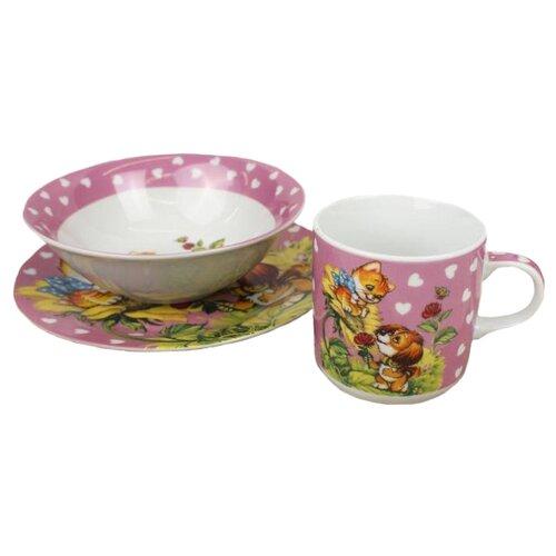 Набор для завтрака Доляна Дружба, 1 персона розовый/белый