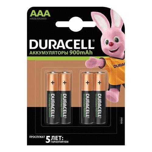 Фото - Батарейки аккумуляторные DURACELL, AAA (HR03), Ni-Mh, 900 mAh, КОМПЛЕКТ 4 шт., в блистере, 81546826 батарейки duracell activeair nugget box za675 da675 6bl