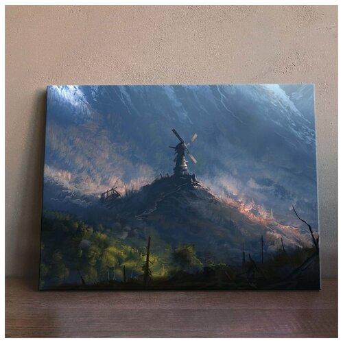 Картина Мельница 50х70 см. синтетический холст