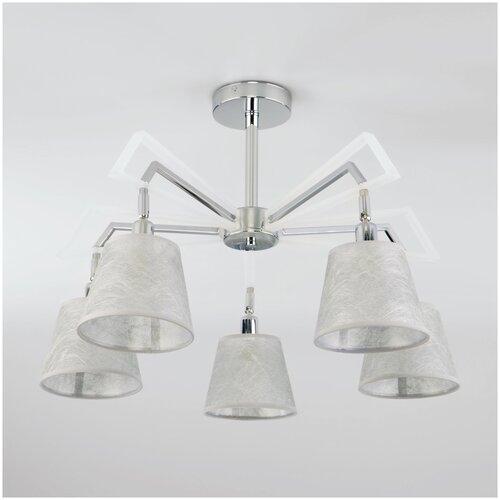 Люстра Eurosvet Alicante 60082/5 хром, E14, 200 Вт, кол-во ламп: 5 шт., цвет арматуры: хром, цвет плафона: серый потолочная люстра eurosvet 60082 5 хром
