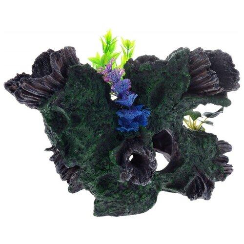 Грот BARBUS Коряга с растением Decor 036 30.5x20.5x20 см зеленый