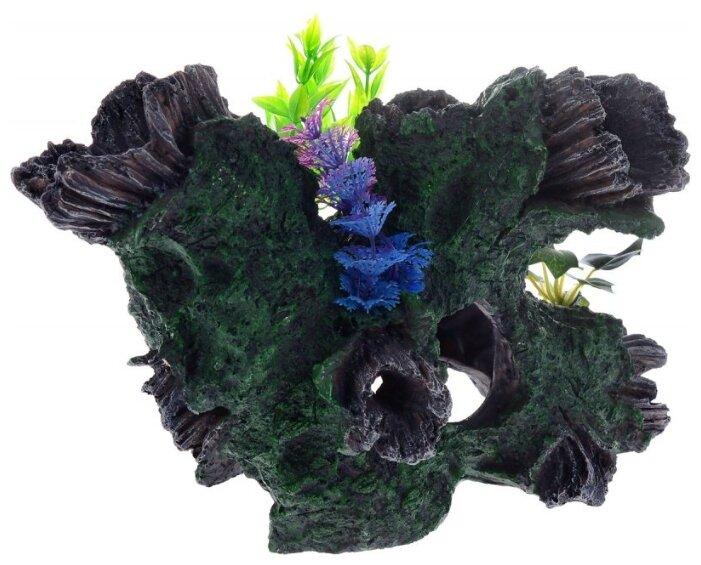 Грот BARBUS Коряга с растением Decor