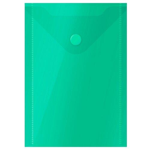 Купить OfficeSpace Папка-конверт на кнопке А6, пластик 150 мкм зеленый, Файлы и папки