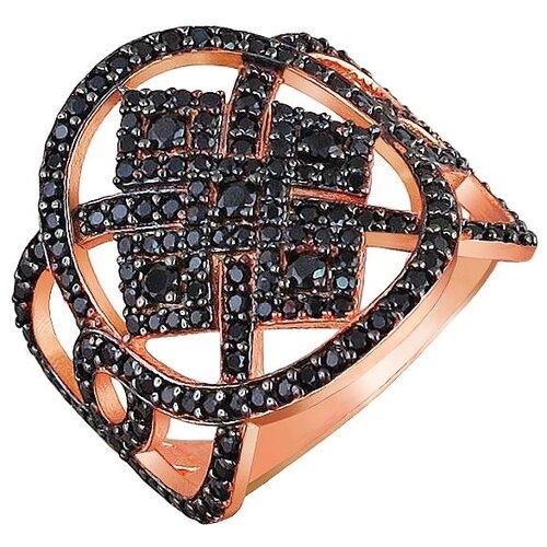 Эстет Кольцо с фианитами из чернёного серебра с позолотой 01К2510189-1АЧ, размер 17.5 ЭСТЕТ