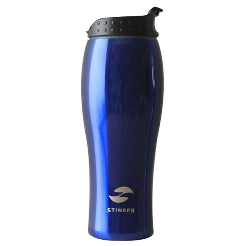 Термокружка Stinger, 0,4 л, сталь/пластик, синий глянцевый, 6,5х22,3 см