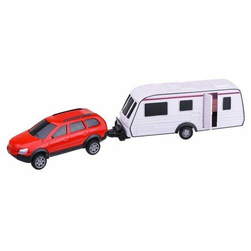 цена на Внедорожник Autogrand All Road Camping с прицепом (9742) 1:32 белый/красный