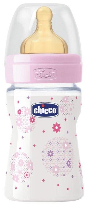 Chicco Бутылочка с соской из латекса Well-Being, 150 мл boy/girl с рождения