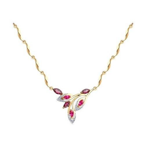 Diamant Колье из золота с миксом камней 51-370-00436-2, 45 см, 5.47 г бронницкий ювелир колье из желтого золота 54319559 45 см 2 98 г