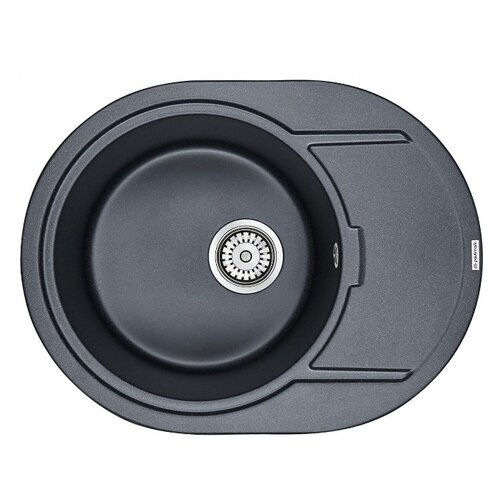 Врезная кухонная мойка 65 см Paulmark Oval PM316502 черный металлик