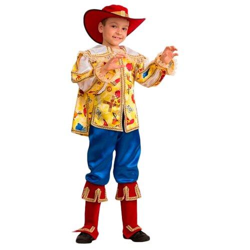 Купить Костюм Батик Jeanees Кот в сапогах (5206), желтый/красный/синий, размер 134, Карнавальные костюмы