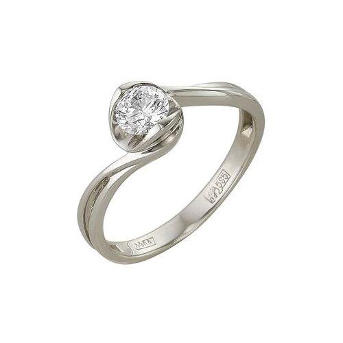 Мастер Бриллиант Кольцо с 1 бриллиантом из белого золота 1-105-19, размер 18.5