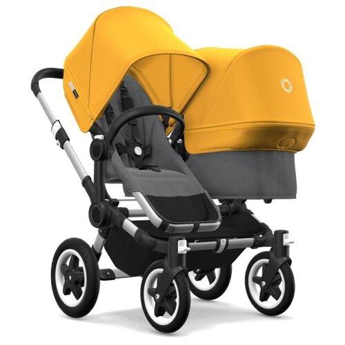 Универсальная коляска Bugaboo Donkey 2 Duo (2 в 1) Alu/Grey melange/Sunrise yellow, цвет шасси: серебристый