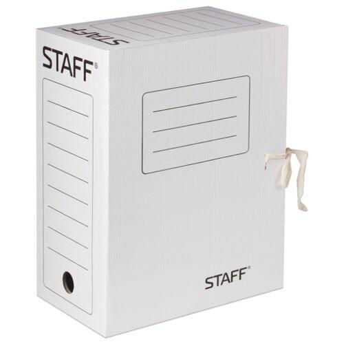 Фото - STAFF Папка архивная с завязками, А4, 150 мм, микрогофрокартон белый папка архивная с завязками микрогофрокартон 75 мм до 700 листов плотная синяя brauberg 124853