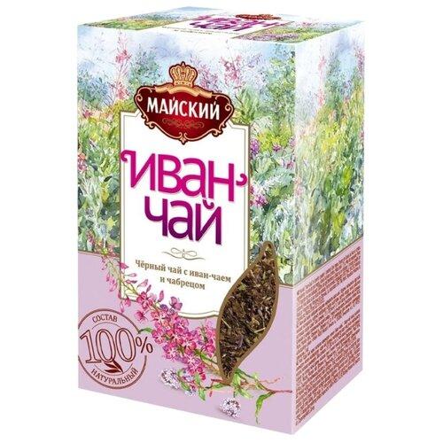 Чай черный Майский Иван-чай с чабрецом, 75 г майский чайная матрешка синяя черный листовой чай 30 г