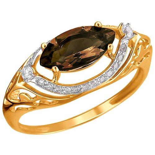 Эстет Кольцо с раухтопазом и фианитами из красного золота 01К3112173Р-3, размер 17.5 ЭСТЕТ