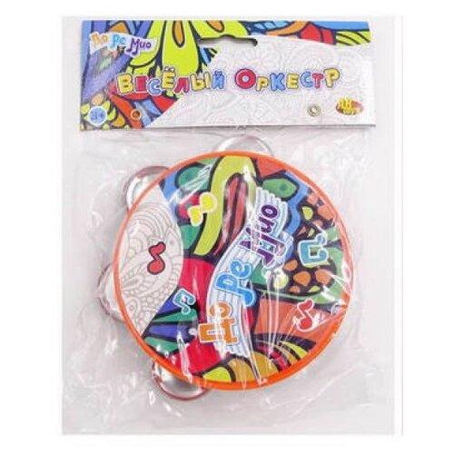 Купить DoReMi бубен D-00075 голубой/оранжевый, Детские музыкальные инструменты