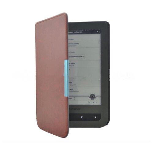 Чехол-обложка футляр MyPads для PocketBook 624 Basic Touch / PocketBook 614 Basic 2/PocketBook 615 из качественной эко-кожи тонкий с магнитной застежкой темно-коричневый