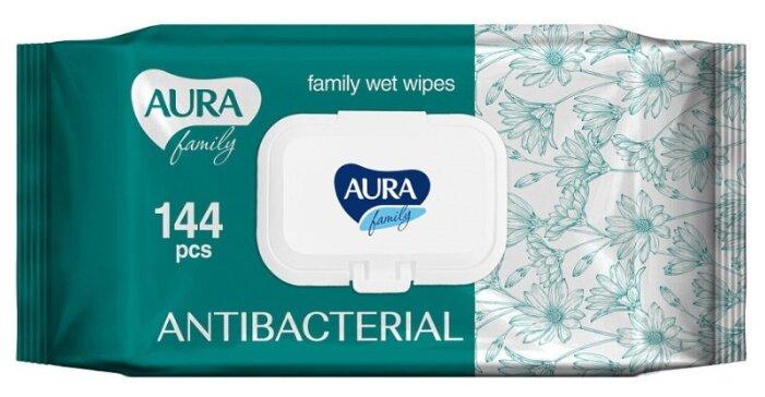 Влажные салфетки Aura Family антибактериальные