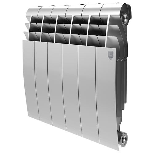 Радиатор секционный биметаллический Royal Thermo Biliner 350 x6 теплоотдача 690 Вт, подключение универсальное боковое Silver Satin биметаллический радиатор rifar рифар b 500 нп 10 сек лев кол во секций 10 мощность вт 2040 подключение левое