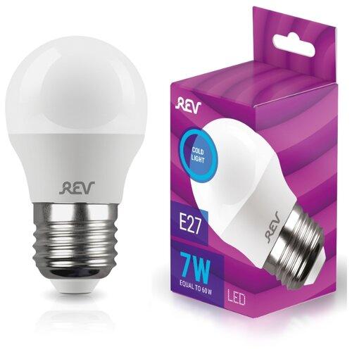 Лампочка светодиодная шар Е27 7W 6500K холодный свет REV 32518 5