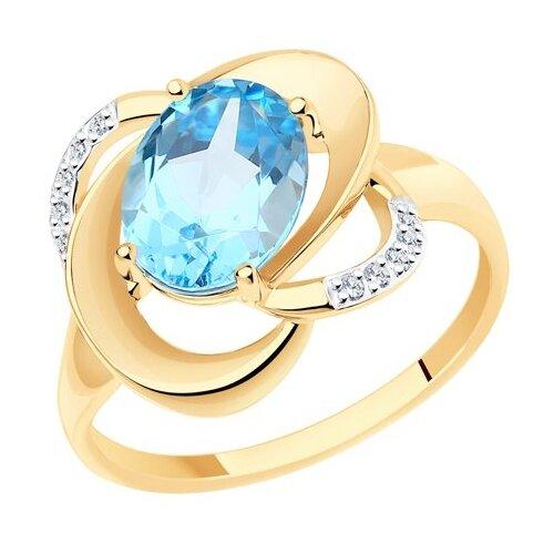 Diamant Кольцо из золота с топазом и фианитами 51-310-00926-1, размер 17 diamant кольцо из золота с топазом и фианитами 51 310 00292 1 размер 18