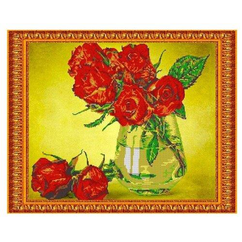 Светлица Набор для вышивания бисером Алые розы 38 х 48 см, бисер Чехия (394)