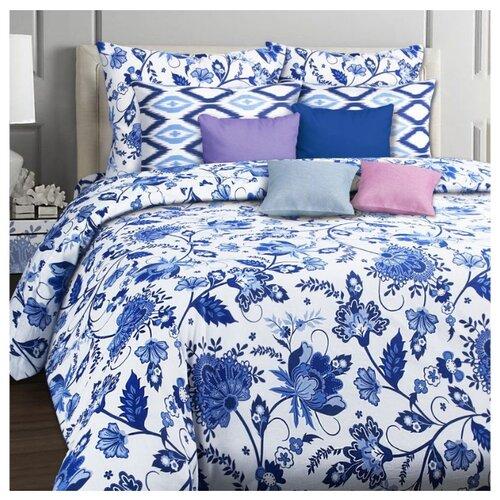 Постельное белье 1.5-спальное Mona Liza Riviera 50х70 см, бязь белый/синий мона лиза постельное белье семейный mona liza mozaika